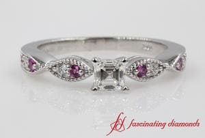 Asscher Cut Delicate Milgrain Wedding Ring With Pink Sapphire In White Gold