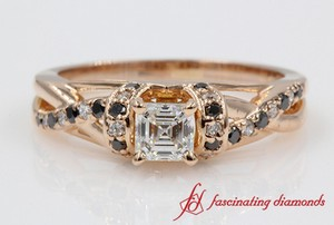 Asscher Cut Twisted Engagement Ring With Black Diamond In Rose Gold