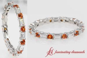 Baguette Diamond Eternity Band With Orange Topaz