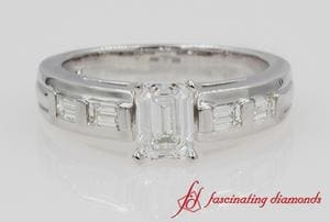 Baguette & Emerald Cut Diamond Ring In White Gold