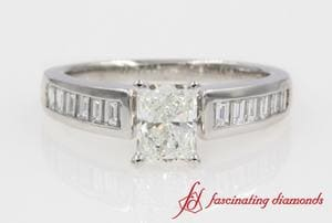 Baguette Engagement Ring In White Gold