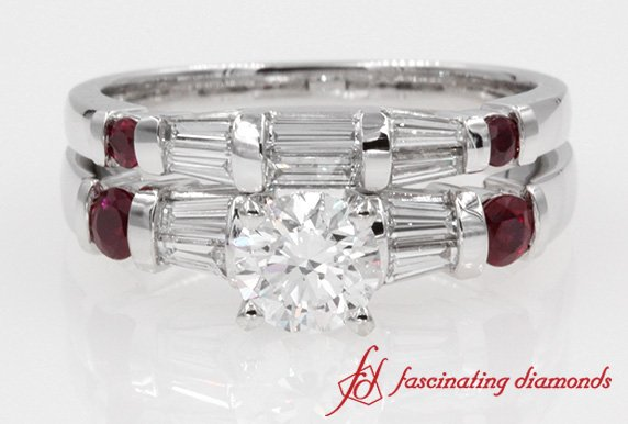 Bar Baguette Round Diamond With Ruby Wedding Ring Set In White Gold
