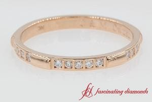 Bar Diamond Stackable Wedding Band In Rose Gold