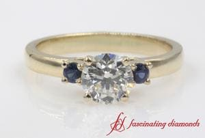 Basket Prong 3 Stone Engagement Ring With Sapphire In Gold
