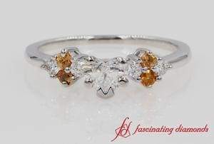 Beautiful Heart Cut Diamond Ring With Orange Sapphire In White Gold