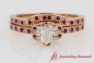 Beautiful Heart Diamond Bridal Set With Ruby In Rose Gold