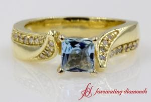 Beautiful Swirl Aquamarine Engagement Ring In 18k Gold