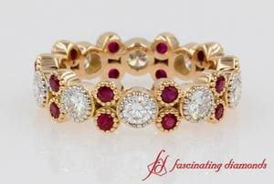 Bezel Round Diamond & Ruby Vintage Band