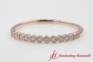 Bezel Round Diamond Thin Wedding Band In Rose Gold