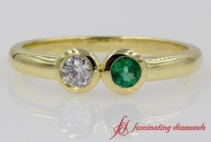 Bezel Set 2 Stone Open Ring With Emerald