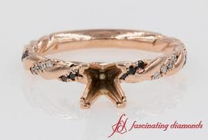 Black Diamond Twisted Ring Setting In Rose Gold