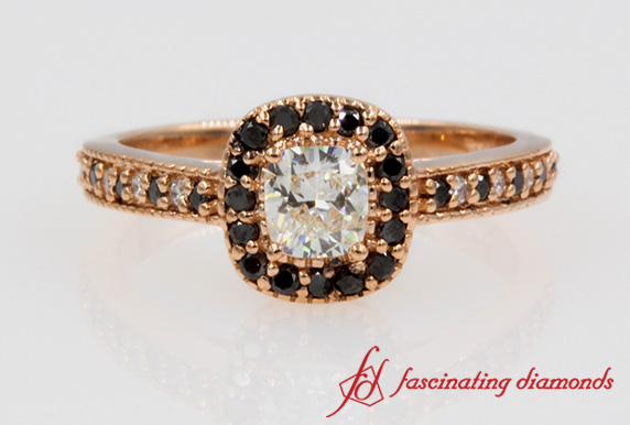 Black & White Diamond Cushion Engagement Ring