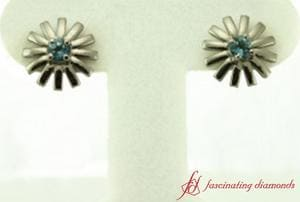 Blue Topaz Stud Earring In Sterling Silver
