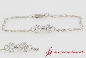 Bow Design Diamond Bracelet In 18k White Gold