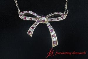 Bow Diamond Pendant Necklace For Women In 18K Gold