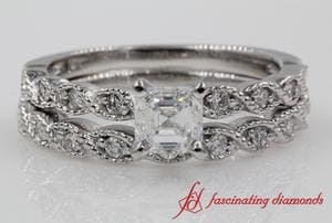 Braid Design Asscher Diamond Wedding Set In White Gold