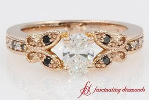 Butterfly Milgrain Oval With Black Diamond Engagement Ring In Rose Gold
