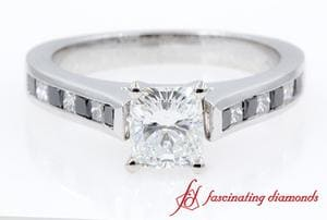 Cathedral Channel Set Cushion Cut Ring