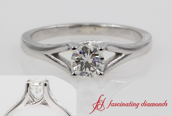 Cathedral Round Diamond Solitaire Ring In White Gold