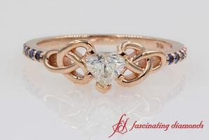 Celtic Heart Diamond Ring In Rose Gold