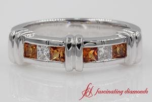 Channel Bar Orange Sapphire Wedding Band In White Gold