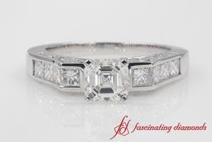 Channel Diamond Asscher Cut Vintage Engagement Ring In Platinum