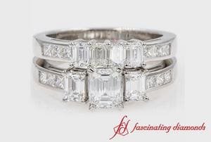 Channel Set 3 Stone Emerald Cut Wedding Set In White Gold