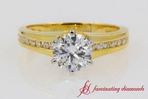 Channel Set Diamond Engagement Ring In 18K Yellow Gold