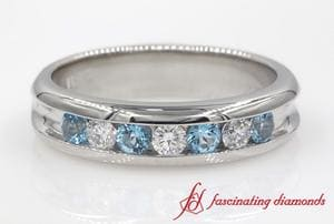 Channel Set Diamond Wedding Band With Topaz In Platinum