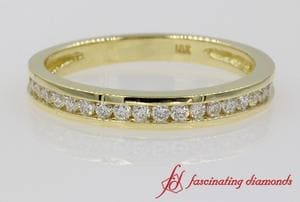 Channel Set Round Diamond Wedding Band In 18k Gold
