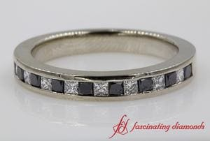 Channel Set Wedding Band With Black Diamond In White Gold