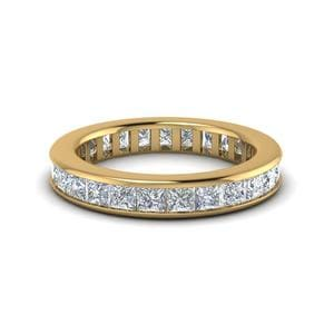4 Carat Channel Set Princess Eternity Diamond Band For Her In 14K Yellow Gold