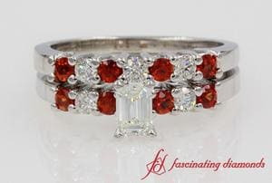 Emerald Cut Orange Sapphire Wedding Set