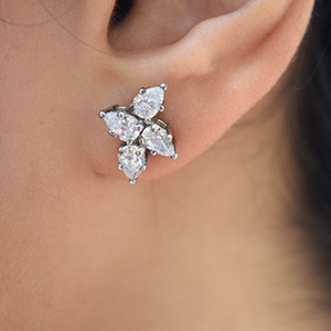 Cluster Pear Diamond Earring
