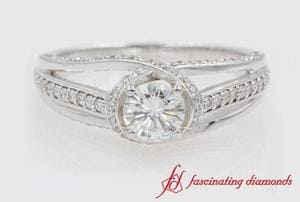 Criss Cross Halo Diamond Ring