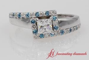 Crossover Halo Diamond Ring With Topaz In White Gold