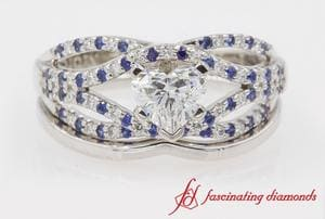 Heart Cut Ring Set With Sapphire