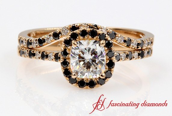 Cushion Black Diamond Halo Wedding Ring Set