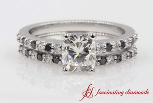 Cushion Cut Petite Wedding Set With Black Diamond In White Gold