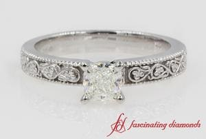 Cushion Cut Solitaire Vintage Ring In White Gold