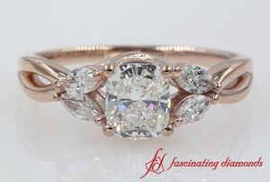 Cushion Cut Twisted Petal Diamond Engagement Ring In Rose Gold