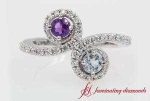 2 Stone Purple & Blue Topaz Ring