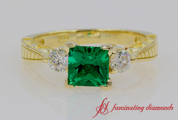 Customized 3 Stone Emerald Ring In Yellow Gold