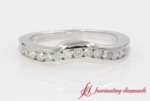 Customized Channel Set Diamond Curve Band In White Gold