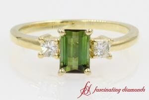 Emerald Peridot With Princess Diamond 3 Stone Ring