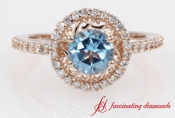 Customized Filigree Halo Blue Topaz With Round Diamond Ring In Rose Gold