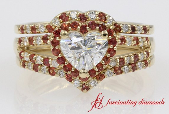 Customized Halo Heart Diamond With Orange Sapphire Split Ring In Yellow Gold