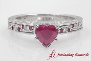 Customized Heart Shaped Vintage Engagement Ring In White Gold