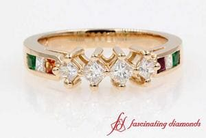 Kite Set Princess Cut Diamond Wedding Ring