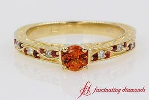 Customized Orange Sapphire Vintage Ring